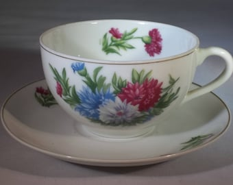 Carnations cup and saucer