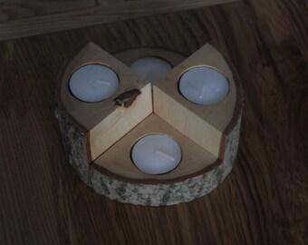 Wooden Tealight Holder, 4 Piece set