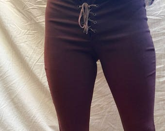 90s Chocolate Brown Flare Lace Up Pants