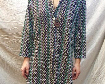 Vintage 90s Does 70s Zig Zag Colorful Long Sleeved Dress/Top