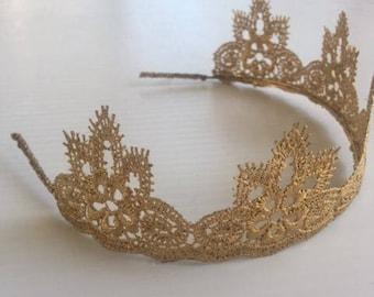 Adult size gold crown, gold crown, crown headband, Birthday crown, First birthday crown, Gold crown headband, Toddlers crown, Princess crown