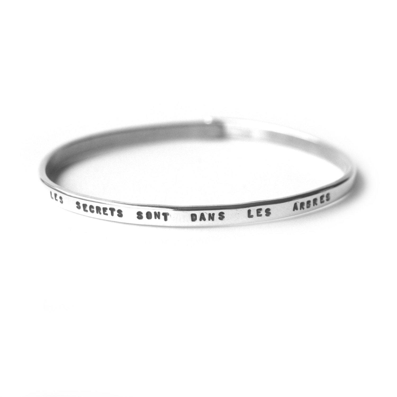 bracelet souhait en argent personnalisable avec fermoir jonc etsy. Black Bedroom Furniture Sets. Home Design Ideas