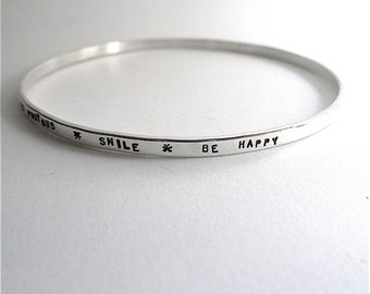 Custom silver Bangle patience message bracelet