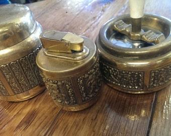 On sale-Vintage Brass Smoking 3 Piece Set