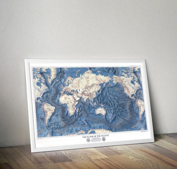 Topographic Map Of Ocean Floor.World Map Ocean Floors And Land Relief Map Of The Ocean Etsy