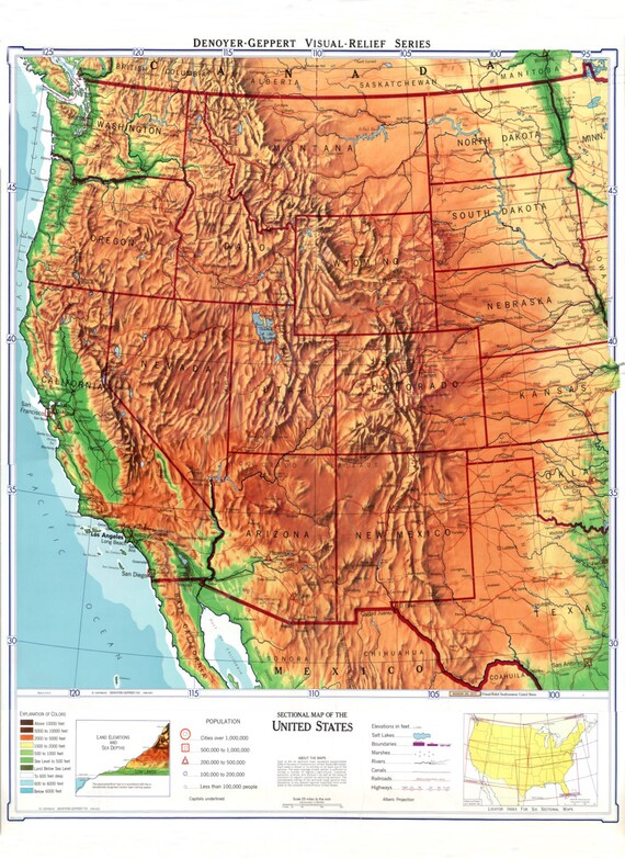 Physical Map of the Western United States | Map Art | West Coast Map | Map  Wall Hanging | Shaded Relief Map | Midcentury Map