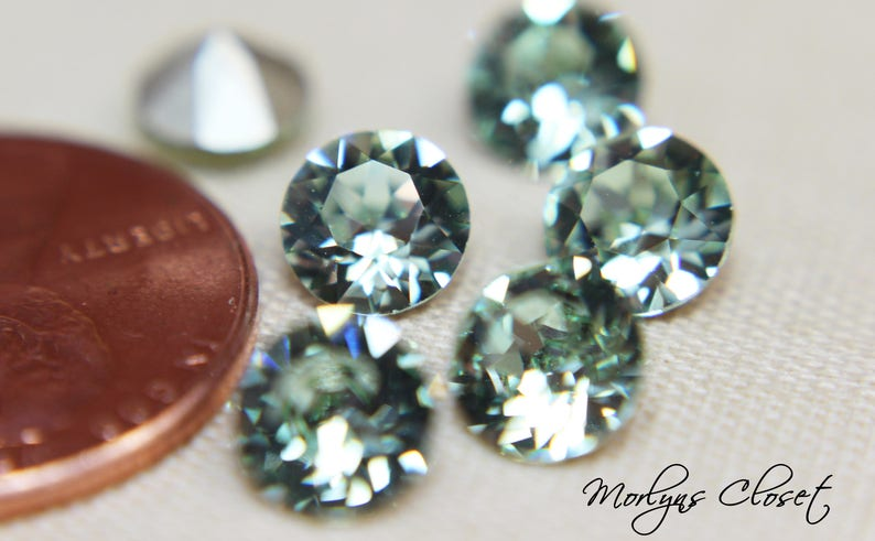 1cdd087f68217 Swarovski 1088 Xirius Chaton ss29 Foiled Chrysolite, Swarovski Crystal,  6mm, Set of 3, 6 or 12