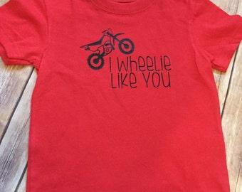 Toddler baby boys valentine shirt   I wheelie like you   Dirt bike Dirtbike Shirt   Boys Valentine Shirt
