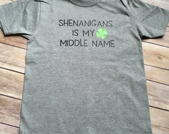 Boys St. Patricks Day Shirt | Toddler infant boy St. Patrick's Day shirt | Shenanigans is my middle name