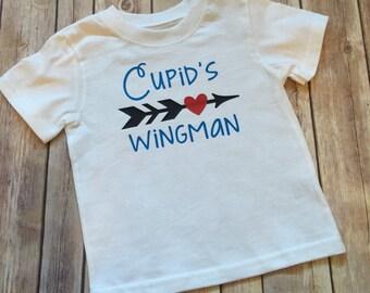 Boys Valentine shirt   Cupid's wingman shirt   Toddler boy Valentine's Day