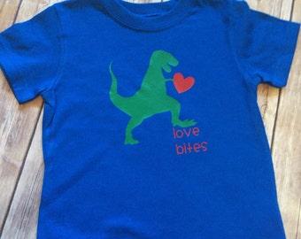 Boys Valentine Shirt   Dinosaur shirt   Valentine Dinosaur Shirt   Love Bites Shirt
