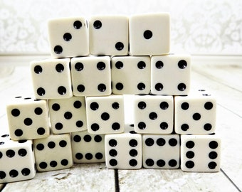 Plastic Rounded Cubes with Black Dots NO Holes 12pcs Embellishments 10mm White Dice Craft Dice