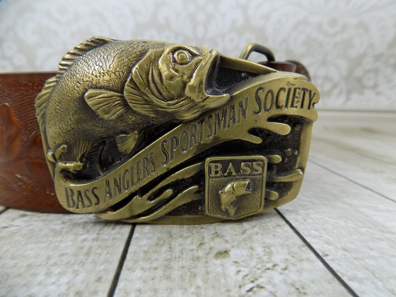 Bass Anglers Sportsman Society BASS Vintage Buckle Antiqued Gold Belt Buckle Men/'s Collectibles Wide Mouth Bass