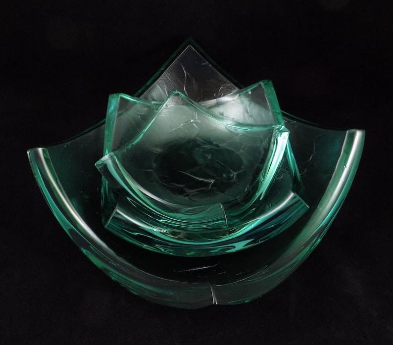 Stephen Schlanser Art Glass Brush Stroke Bowl Set Signed image 0