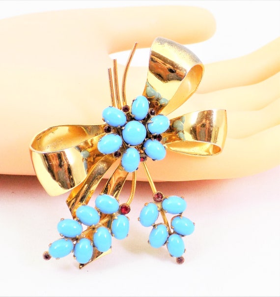 Coro Vermeil Gold Bow, Turquoise and Red Glass Sto