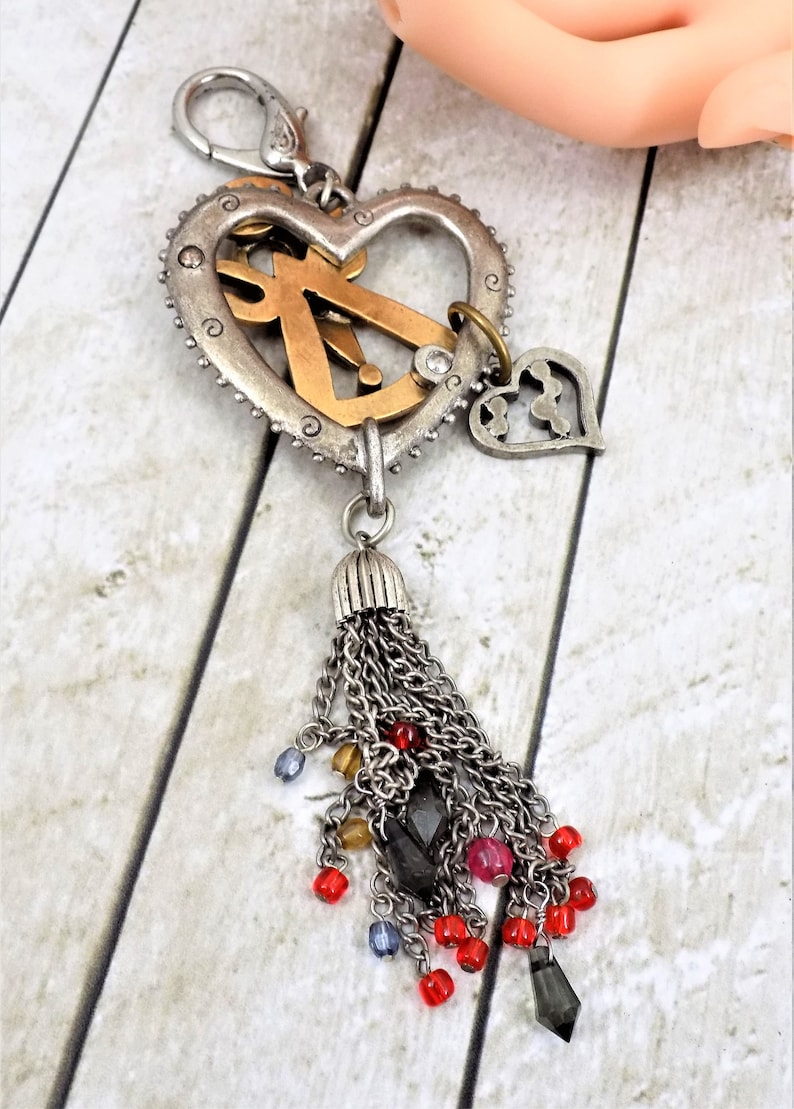 Backpack Clip Two Tone Metal Angel Heart Good Luck Charms, Beaded Tassel Large Purse Clip