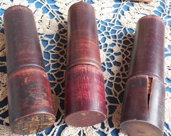Wood Cylinder Holders for Punch Tools, Industrial Rescue, Portland Machine, Vintage Industrial, Manufacturing