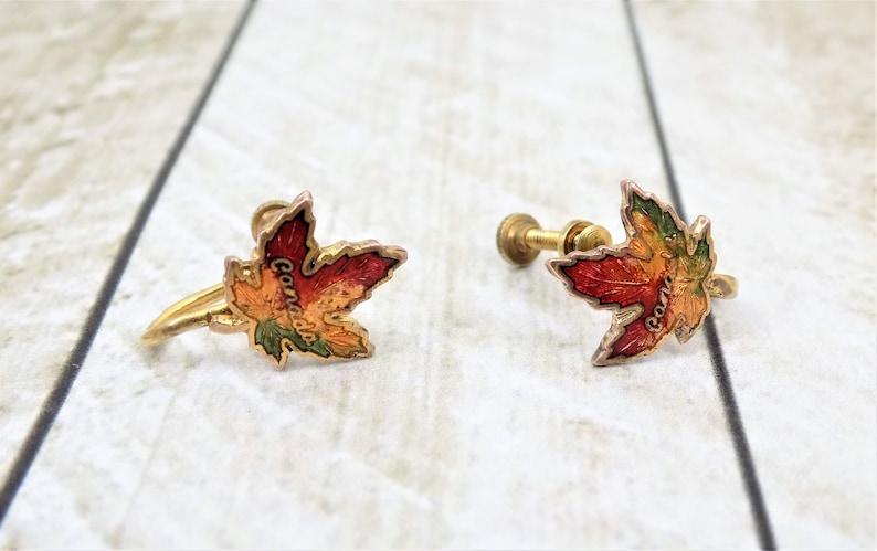 Set of 3 Sterling Spoon Screwback Earrings Canada Maple Leaf Souvenirs Toronto Spoon, Travel Souvenirs Oar Pin