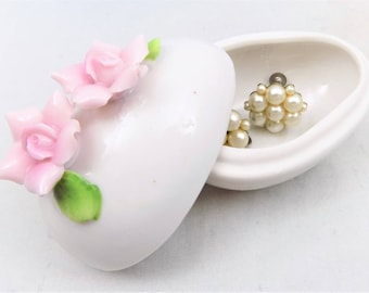 Porcelain Egg Trinket Dish, Pink Flowers, White Egg with Flowered Lid
