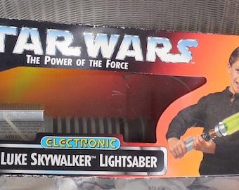 "Star Wars Lightsaber 41 1/2"" Extended, 1995 Luke Skywalker Light Saber Electronic Power Of The Force, Electronic Glowing Saber"