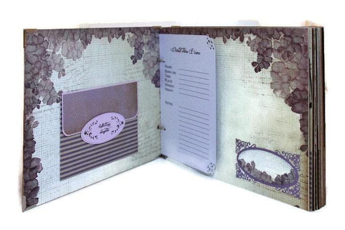 83e0657da571 Cadeau de bébé Unique - mauve bébé fille mémoire livre - Unique album  personnalisé - bébé
