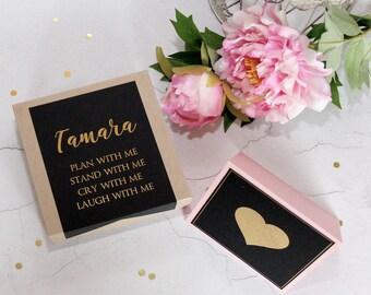 Personalized Gold Foil Bridesmaid Gift Box - Will You Be My Bridesmaid Gift - Gift Box With Lid - Be My Maid Of Honor Gift - Favor Box