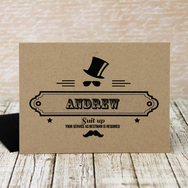 hipster groomsman invitation groomsman invitation will you etsy