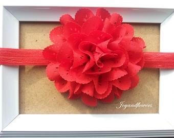 Red baby headband, Red eyelet headband, baby headbands, baby girl headband, infant headband, newborn headband, Red eyelet flower, red