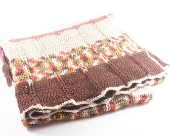 Vintage Crochet Handmade Brown and Ivory Striped Fall Afghan Blanket