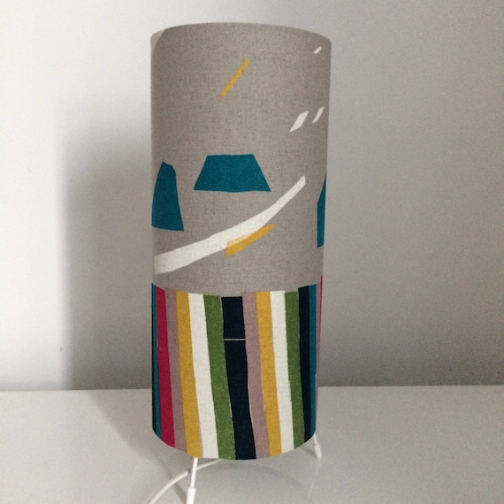 Iro Stripe Turquoise Table Lamp Abstract Lamp Grey Lamp Table Lamp Fabric Lamp Bedside Lamp Lamp Table Lamp Lamp Uk Retro Lamp