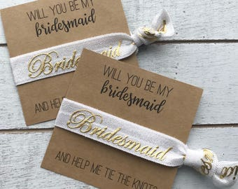 Will You Be My Bridesmaid and Help Me Tie the Knot Hair Tie Favors | Bridesmaid Hair Tie Favors | Bridesmaid Proposal Gift |  Wedding Party