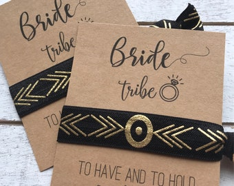 BRIDE TRIBE Hair Tie Favors |To Have and To Hold Your Hair Back Bachelorette Party Favors | Bridesmaid Proposal Idea