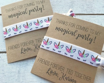 Custom UNICORN Party Favors | Thanks for coming to my magical party Hair Tie Favors | UNICORN Hair Tie Favors | Birthday Girl Party Favors