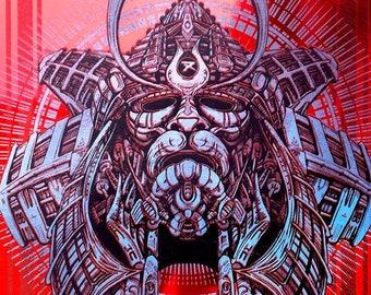 Samurai: Red Mirror. Blue Metallic Ed. Screen Print