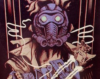 Star Lord - Infinity War release - Vintage Gold and Gun Metal ed. Screen Print