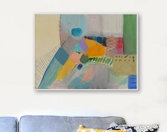 ABSTRACT PAINTING ON CANVAS_Modern Art_Pastel Tones_Yellow Beige Green Purple_Original Modern Artwork,Horizontal,Living Room Wall Art_Gift