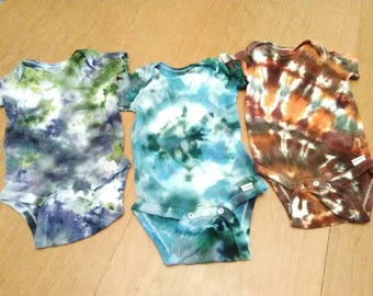 Hand-dyed, tie-dyed baby onesies 24 months, baby hippie clothes, seconds