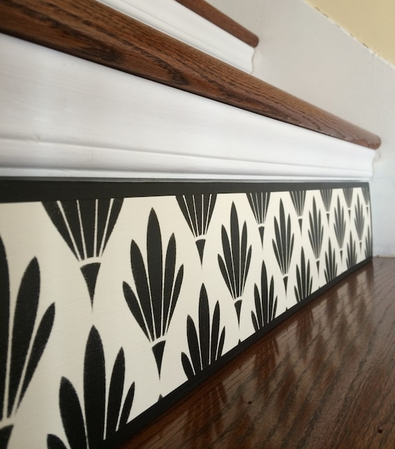 Carved Wood Stair Risers Stair Ideas Stamped Leather: Black White / Art Deco / Alternative To Stair Riser Decals