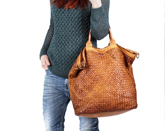 Leather Tote Bag, Woven Bag, Woven Bags, Messenger Tote, Zipper Tote Bag,  Woven Tote Bag, Cognac Bag, Large Leather Tote, Everyday Tote a9fd30e204
