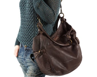 67b5b3a0f1b Brown Leather Purse, Distressed Leather, Casual Bag, Soft Leather Bag,  Simple Bag, Crossbody Hobo Bag, Antique Leather Bag, Leather Hobo Bag