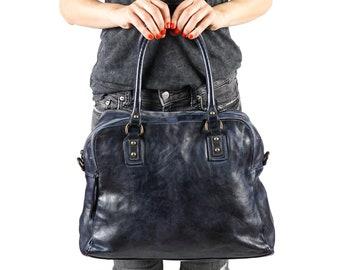 Travel Bag, Overnight Bag, Duffel Bag, Zipper Tote, Weekend Bag, Large Shoulder Bag, Navy Tote, Women Work Bag, Large Crossbody Bag