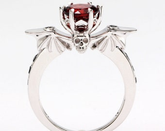 eb32c0119 Garnet and Black Sapphire Bat wing Ring Goth Wedding Skull Vampire Horror  Fantasy Punk Nerdy Geeky Black Wedding Engagement Promise Ring