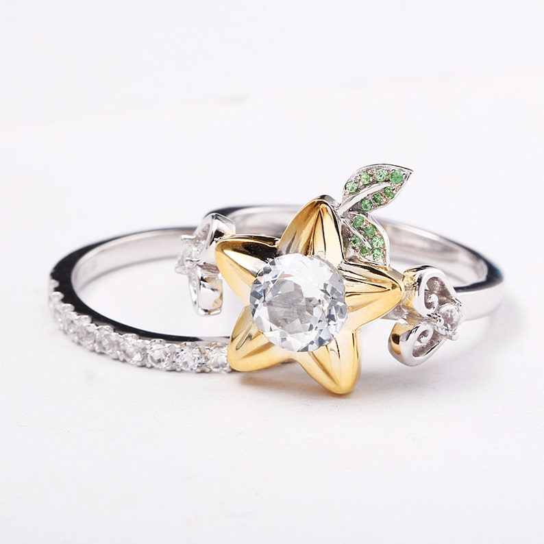 Nerdy Wedding Rings.Star Fruit And Hearts Engagement Ring Promise Ring Wedding Etsy
