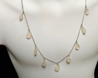 Lovely Vintage Teardrop Moonstone Sterling Silver Necklace, Nine Delicate and Dainty Moonstones, Sparkly Treasure