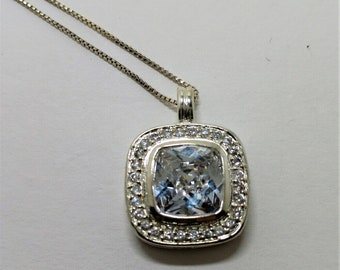 Beautiful JC Sterling Silver  large CZ pendant surrounded by CZ pendant Necklace on a Sterling Silver Box Chain, Amazing Sparkle