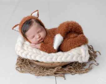 Newborn Baby Fox Outfit, Fox Outfit for Baby, Newborn Fox Hat and Romper, Newborn PHOTO PROP, Fox Set, Baby Fox Costume, Little Fox Set