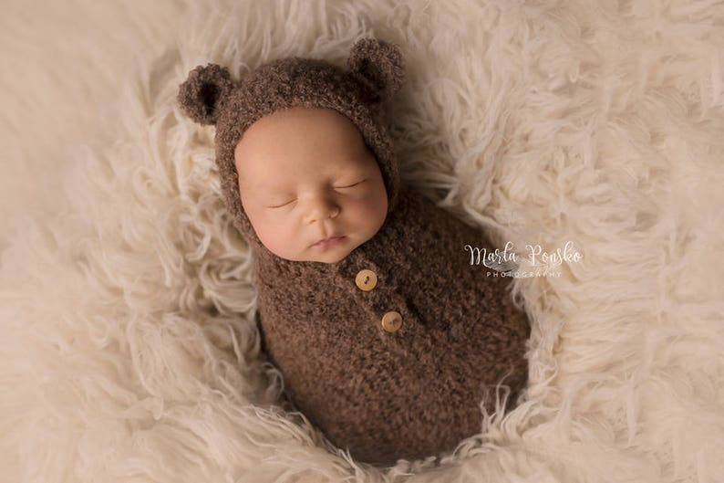 Teddy Bear Swaddle Wrap with Hat Photo Prop Photography  afa60999634c