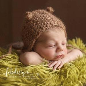 ivory bear newborn bonnet Baby photo prop Many color options Newborn bonnet with funny ears Beige bear bonnet