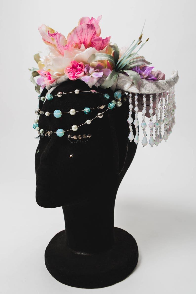 Avant Garde Bride Flower Crown Headdress