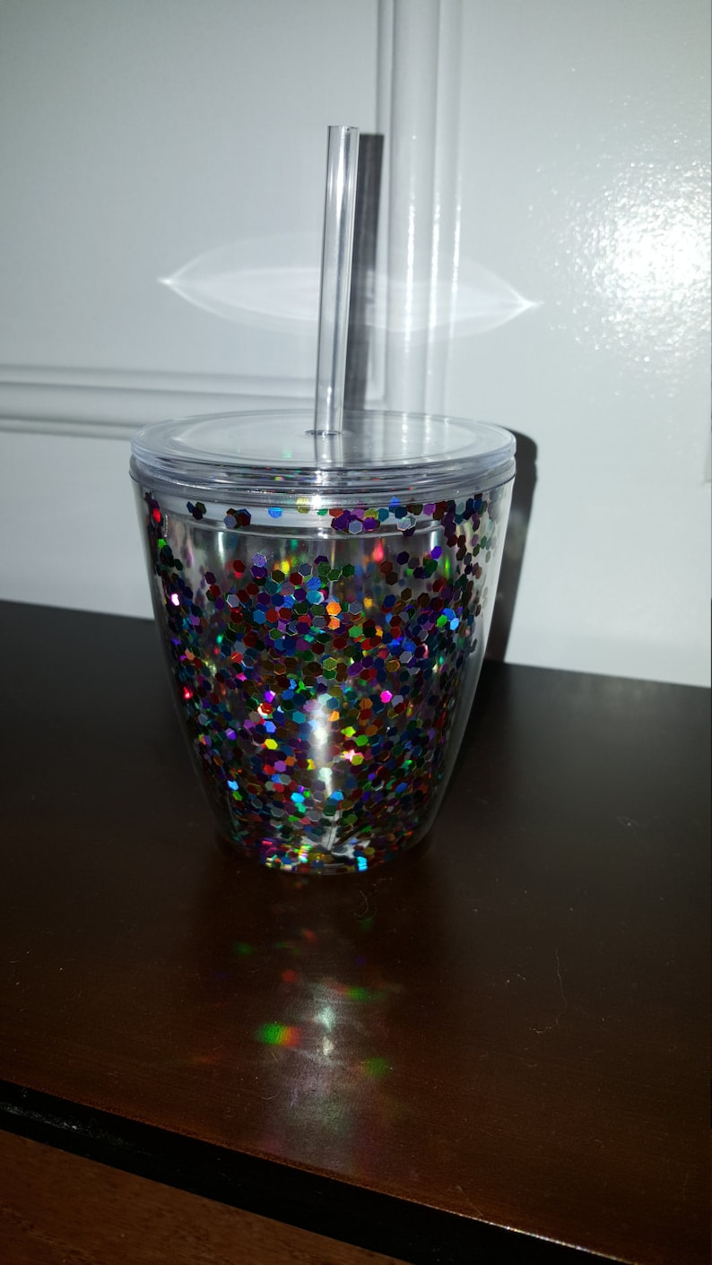 a17ab1d1d78 10 oz Confetti Insulated Double Wall Acrylic Tumbler with Lid and  Straw,Monogrammed Tumbler,Glitter Cup,Sparkle Tumbler, Stemless Wine Glass